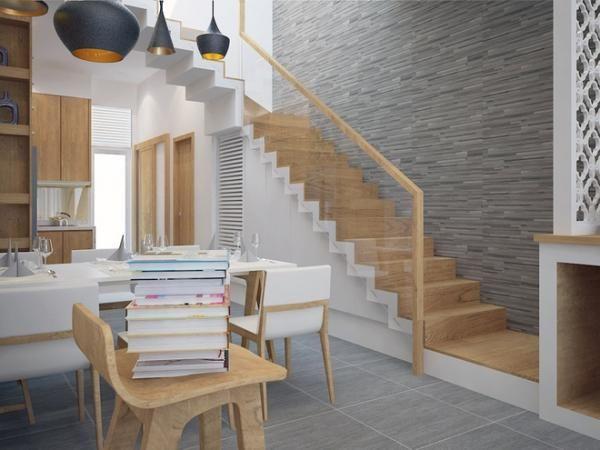 Cầu thang sử dụng gỗ sáng màu đem lại cảm giác gần gũi, nhẹ nhàng