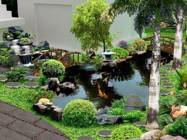 Thiết kế hồ cá koi tại nhà đẹp - phù hợp phong thủy