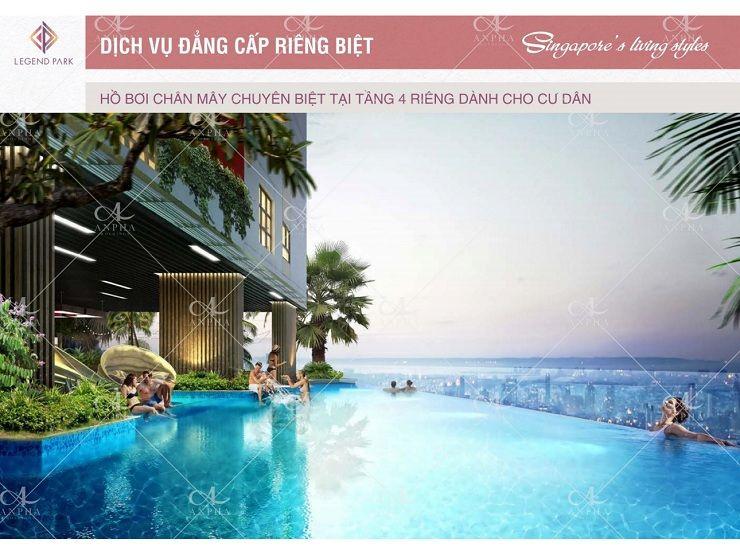 Hồ bơi chân mây tại dự ánChung cư Legend Park