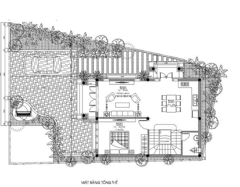 Mặt bằng tổng thể mẫu nhà 2 tầng 1 tum mái thái tại Lâm Đồng