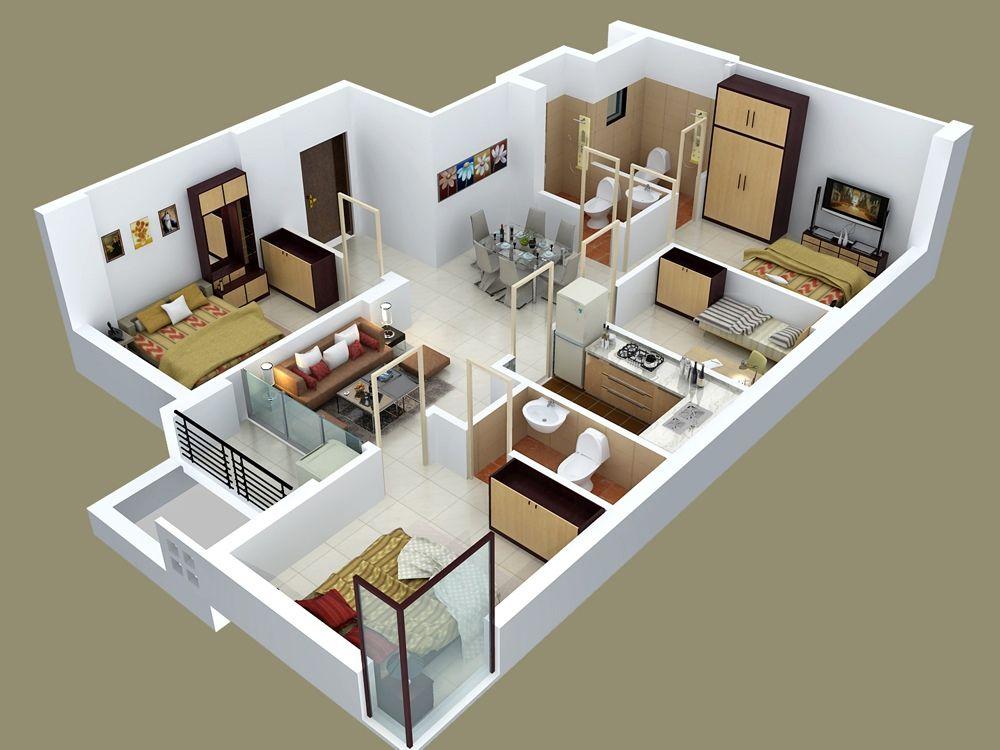 Mẫu căn hộ baphòng ngủdự án Chung cư VP7 Linh Đàm