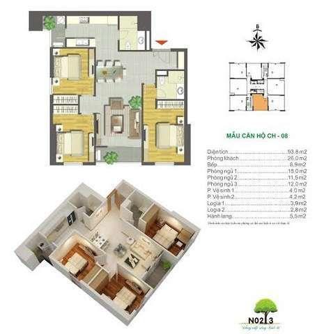 Mẫu căn hộ điển hìnhdự án Chung cư N02-T2 Ngoại Giao Đoàn