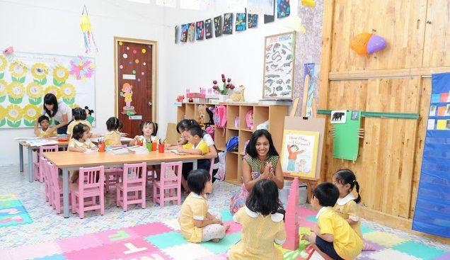 Trường mầm non ngay trước dự án Khu dân cư Thuần Việt