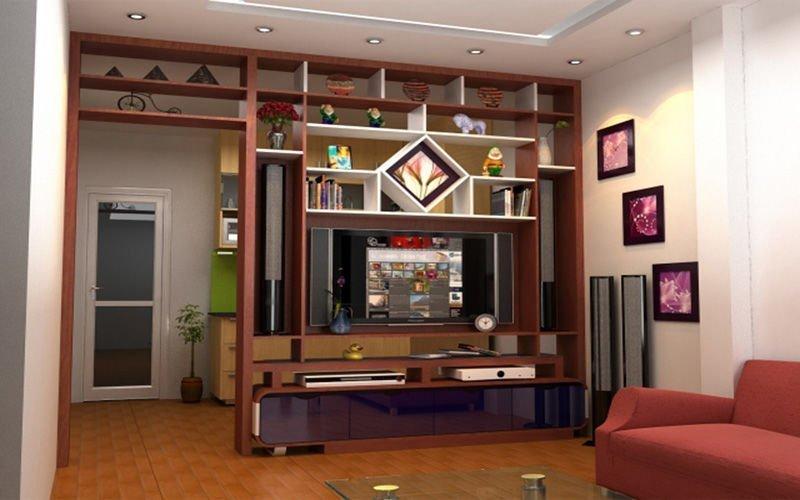 Vách ngăn phòng khách kết hợp tủ tivi