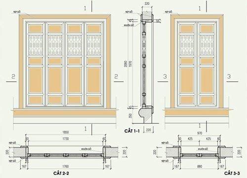 Bản vẽ mặt cắt của cửa vào mẫu nhà thờ từ đường