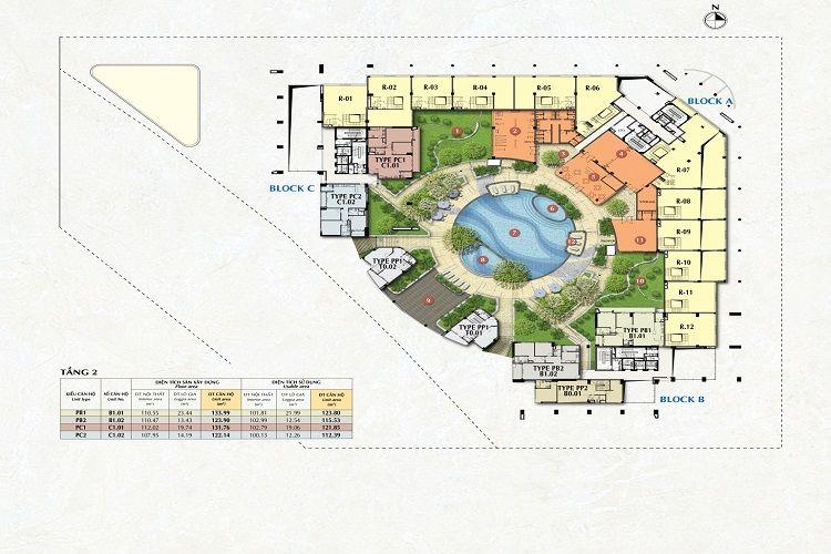 Mặt bằng tầng 2 dự án chung cư Riverpark Premier