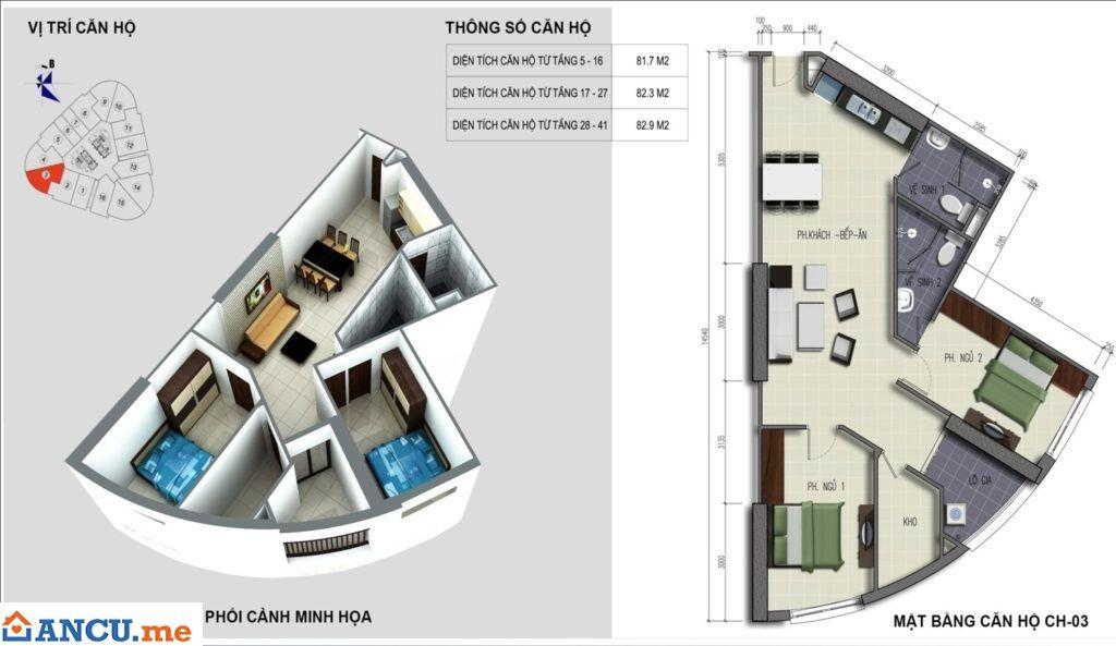Mặt bằng căn hộ CH03 dự án chung cư VC2 Golden Heart