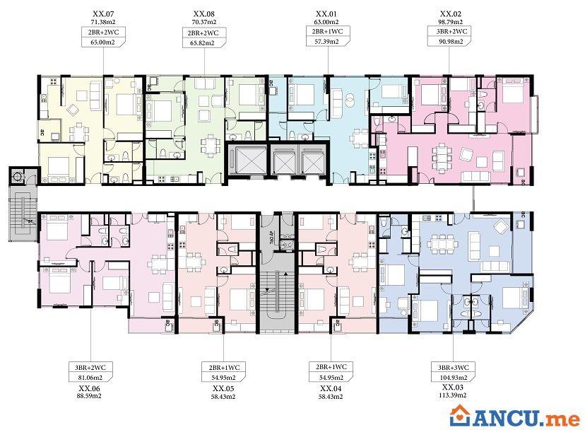 Mặt bằng căn hộ tầng điển hình dự án căn hộ Aio City