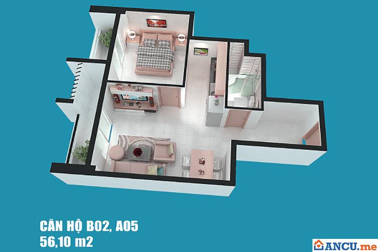 Thiết kế căn hộ 56m2 dự án Chung cư Full House