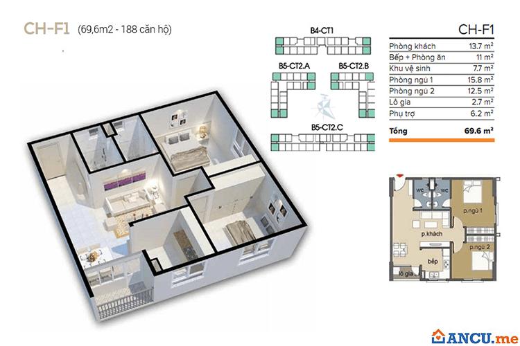 Thiết kế căn hộ 59m2 dự án Chung cư Ecohome 1