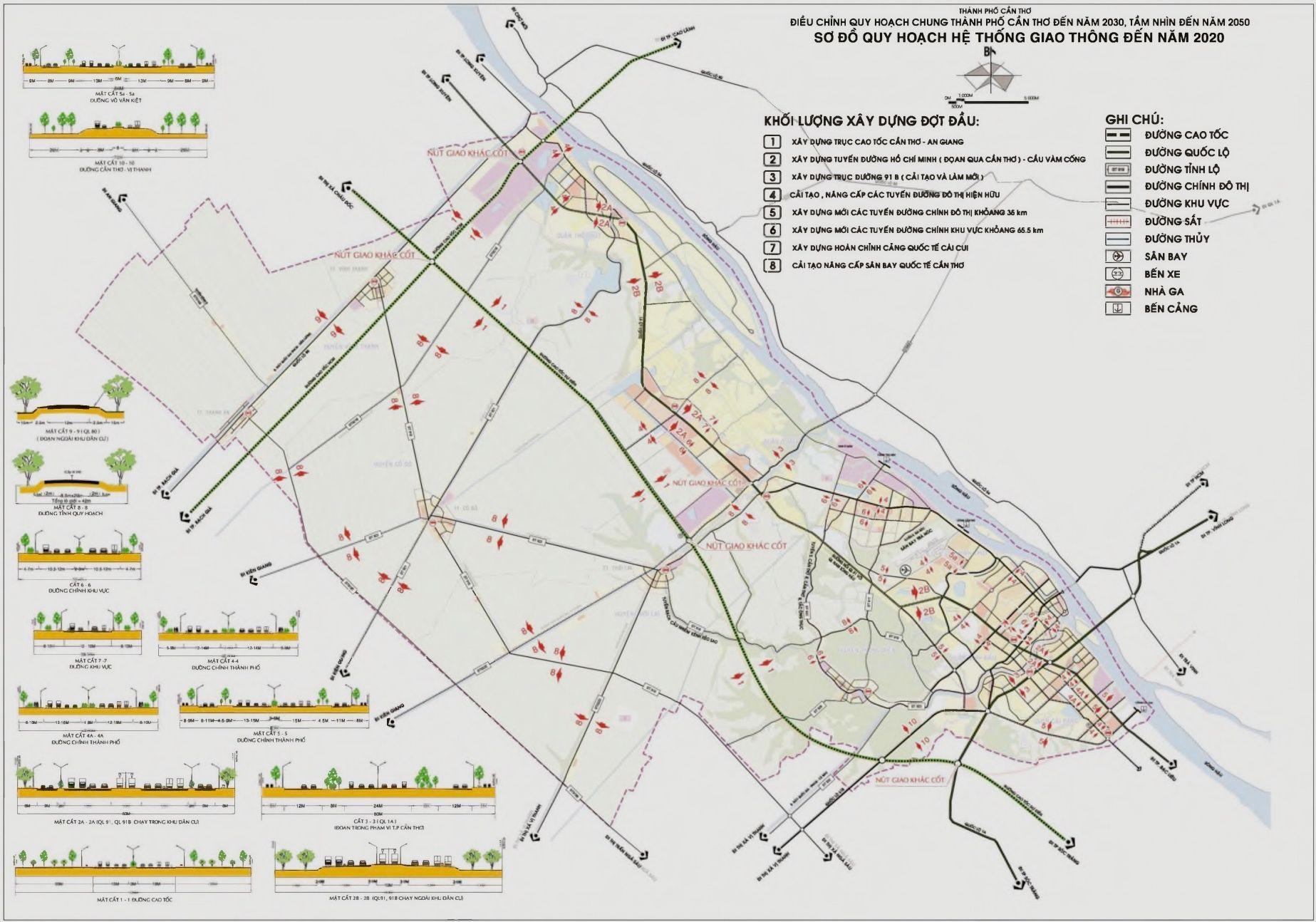 Xem, tra cứu bản đồ quy hoach giao thông thành phố Cần Thơ đến năm 2020