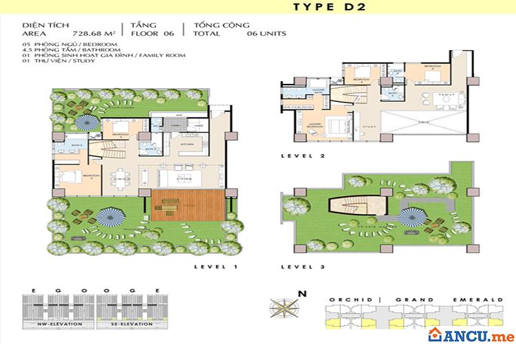 Căn hộ loại D2  thuộc dự án Khu phức hợp Tricon Towers