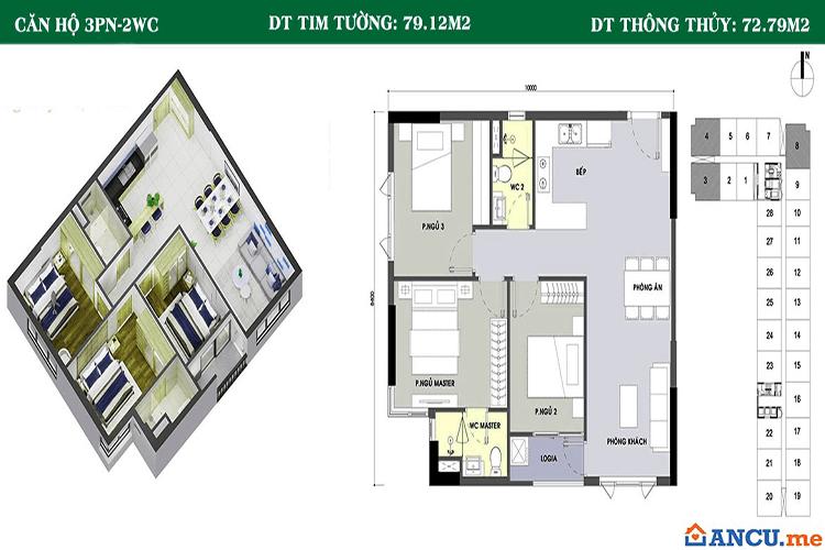 Thiết kế căn hộ 79m2 dự án Picity High Park