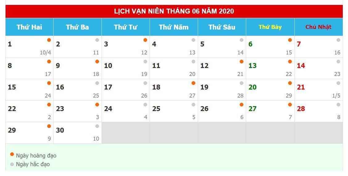 Lịch xem ngày tốt mua đất tháng 6 năm 2020