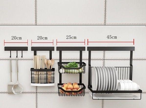 Bộ giá để đồ nhà bếp gọn đẹp đồng bộ bằng inox gồm móc treo, giá treo đựng chén đũa