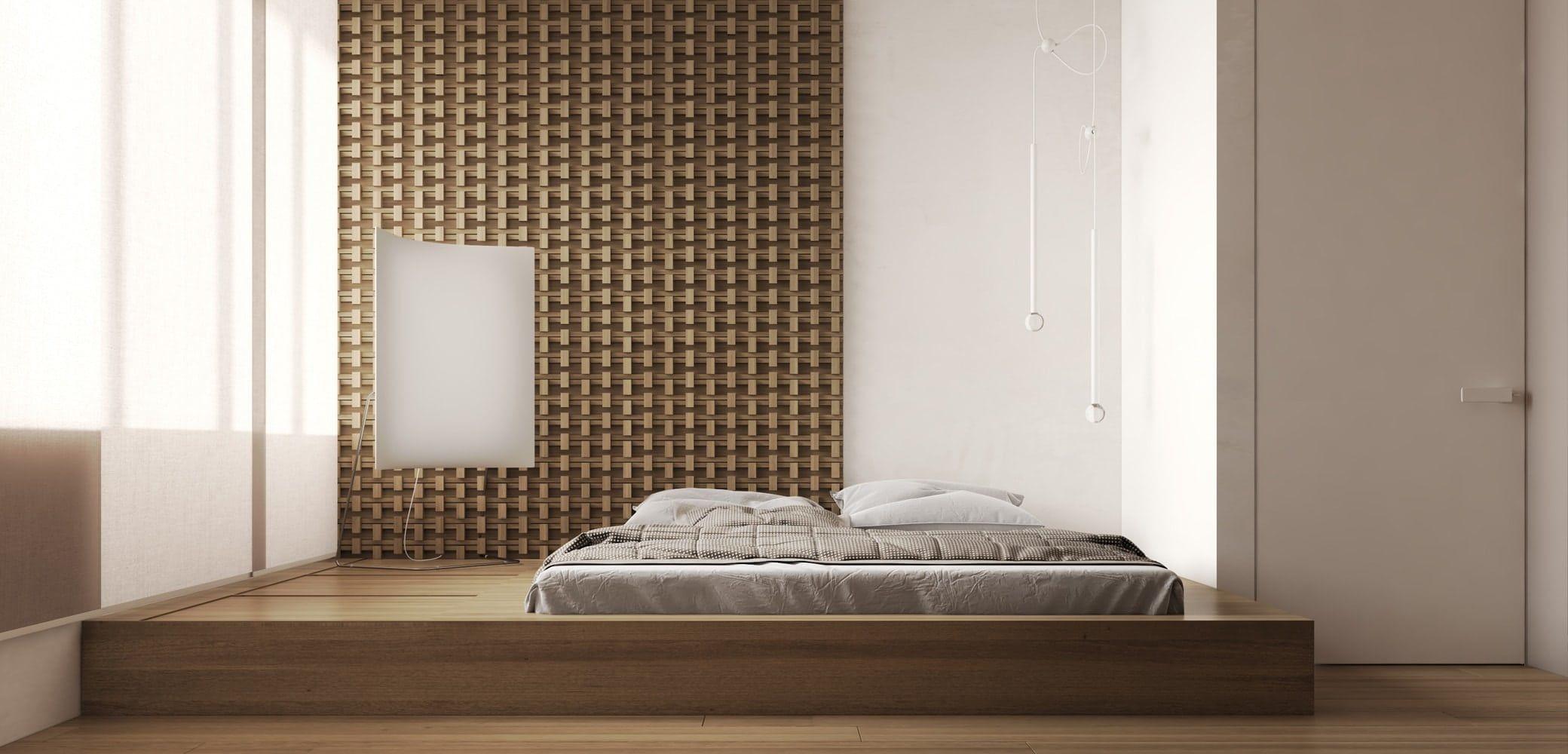 Phòng ngủ thứ hai có nội thất gỗ ấm làm chủ đạo